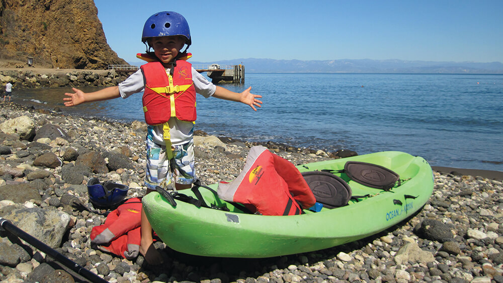 Child gettin ready to go kayaking