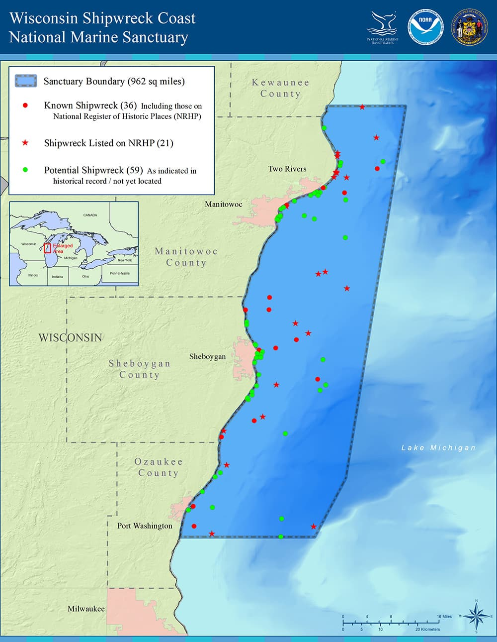 map showing Wisconsin Shipwreck Coast National Marine Sanctuary boundry