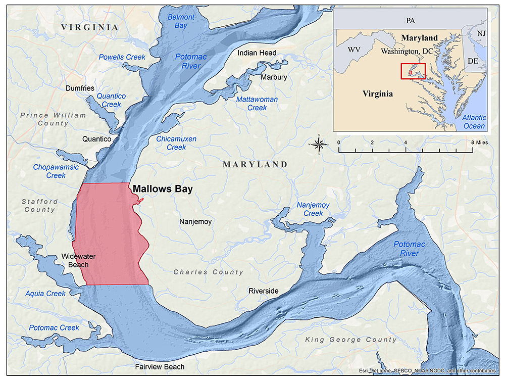 Map of boundaries for Mallows Bay-Potomac River