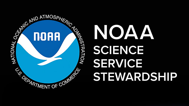 NOAA logo with the text: science, service and stewardship