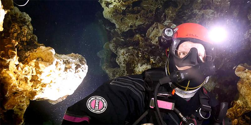 jill heinerth diving in an underwater cave